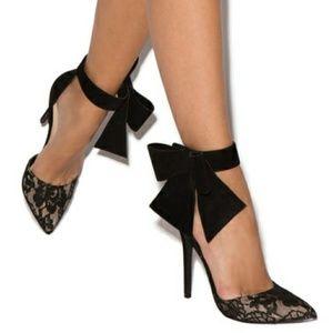 High heel bowtie shoes pumps black lace